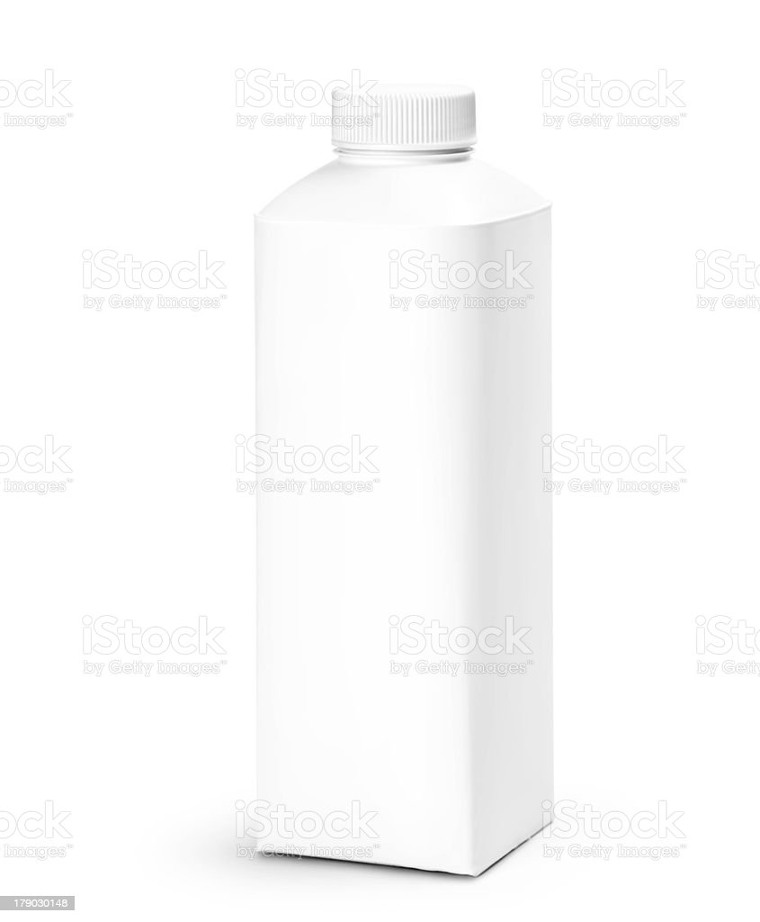 Blank Milk or Juice Pack isolated on white background. stock photo