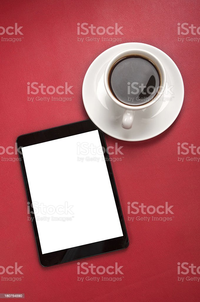 Blank mini tablet and coffee royalty-free stock photo