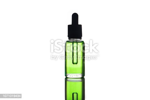 880947556 istock photo blank mock up advertising of the green e-liquid, e-juice in the bottle isolated on the white background with copy space (flacon with pipette) 1071019434