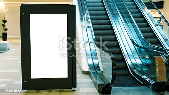 istock Blank mock up of vertical street poster billboard on mall background 1138348888