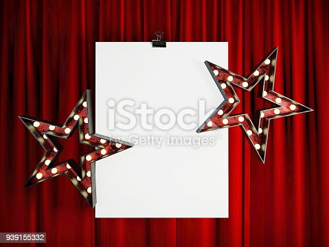 939154550 istock photo Blank Mock Up Poster in front of Red Stage Curtain. 939155332