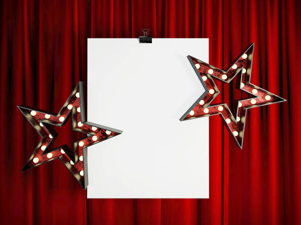 Blank Mock Up Poster in front of Red Stage Curtain. stock photo