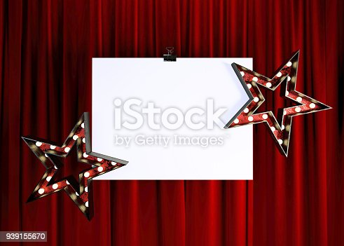 939154550 istock photo Blank Mock Up Poster in front of Red Stage Curtain. 939155670