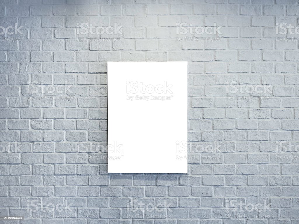 Blank Mock up Poster sign on White Brick wall Background