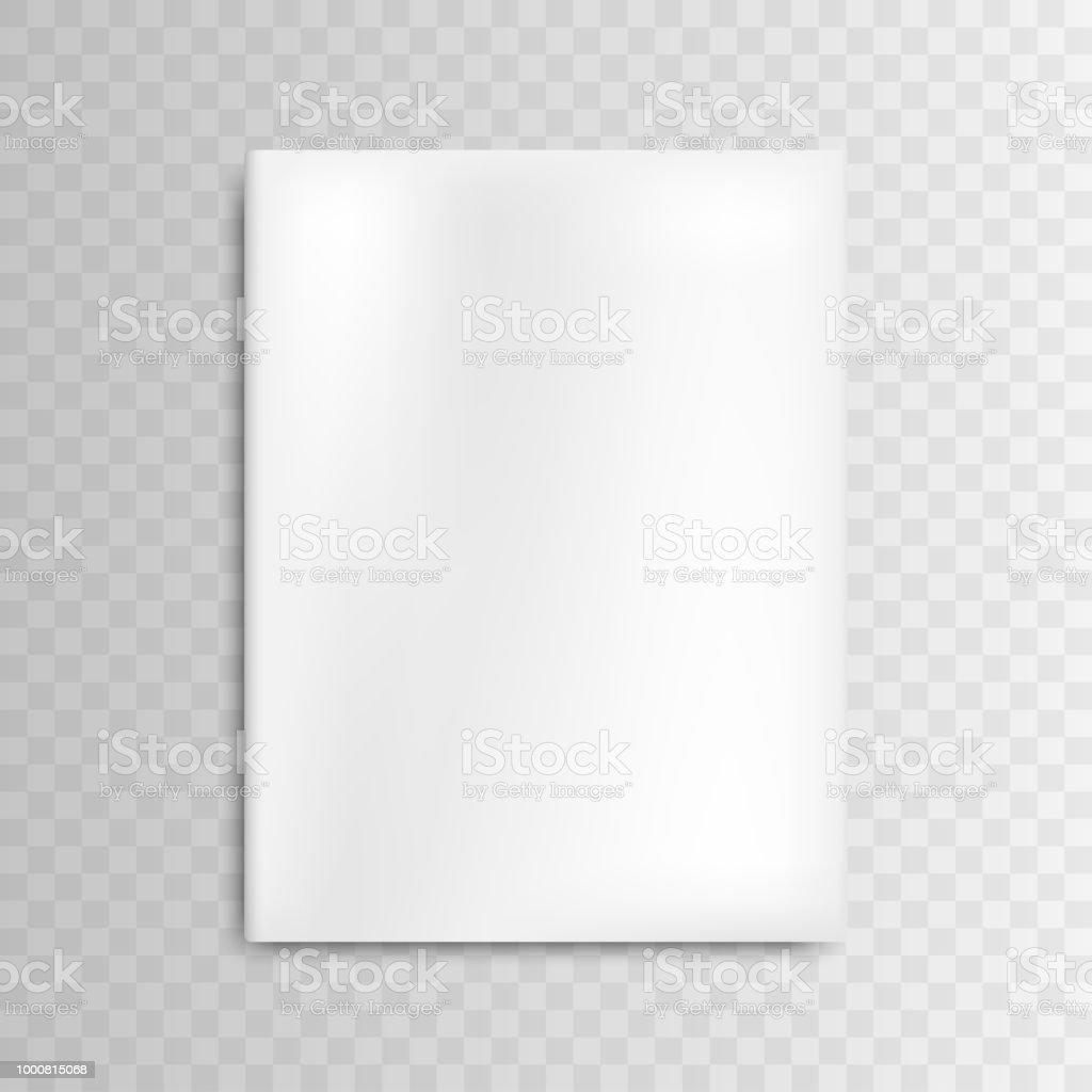 blank mockup cover white magazine on gray background stock photo