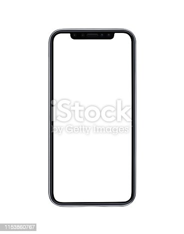 Blank modern mobile phone isolated on white background with clipping path for the screen