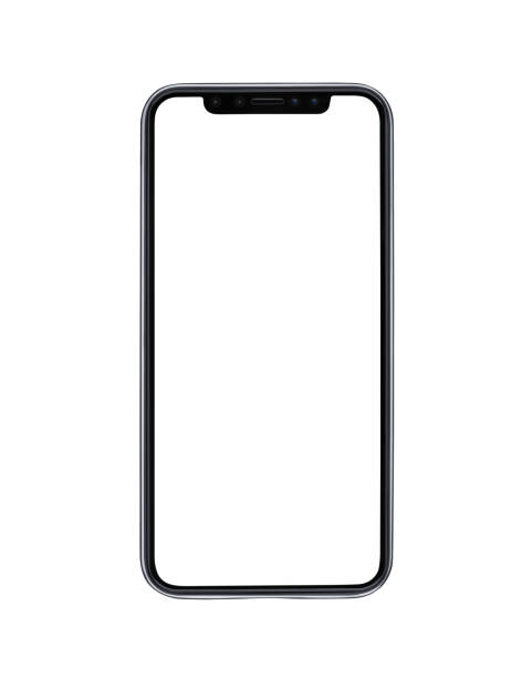 blank modern mobile phone isolated on white background - iphone стоковые фото и изображения