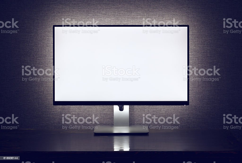 Blank monitor with backlight stock photo