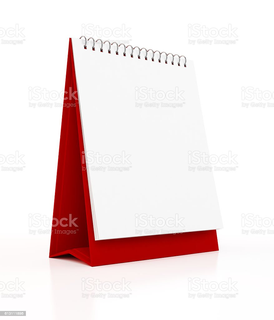 Blank Monthly Red Desktop Calendar Stock Photo Download