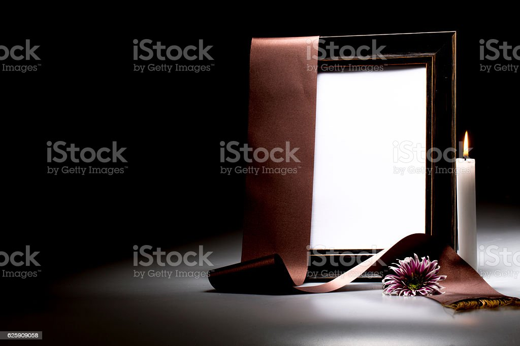 blank mourning frame for sympathy card stock photo