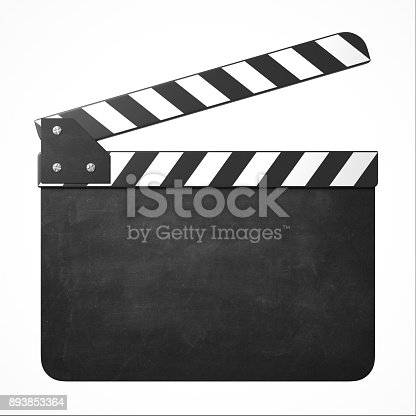 istock Blank movie clapper 3d isolated illustration 893853364