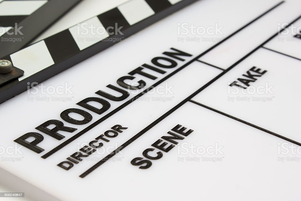Blank movie clapper board, slate film. stock photo