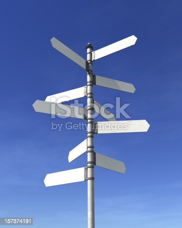 Blank signpost with ten arrows over blue sky - just add your text.