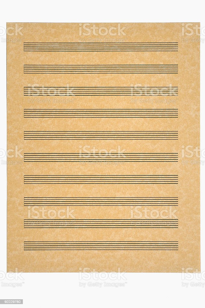 Blank Music Sheet, Parchment Paper royalty-free stock photo