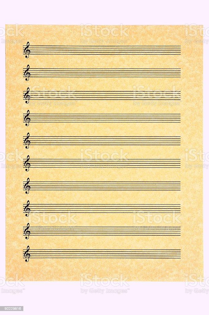 Blank Music Sheet-Treble Clef royalty-free stock photo