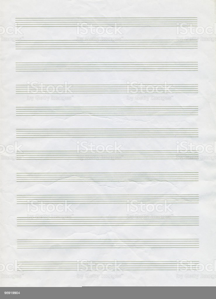 Blank Musical Note Paper royalty-free stock photo