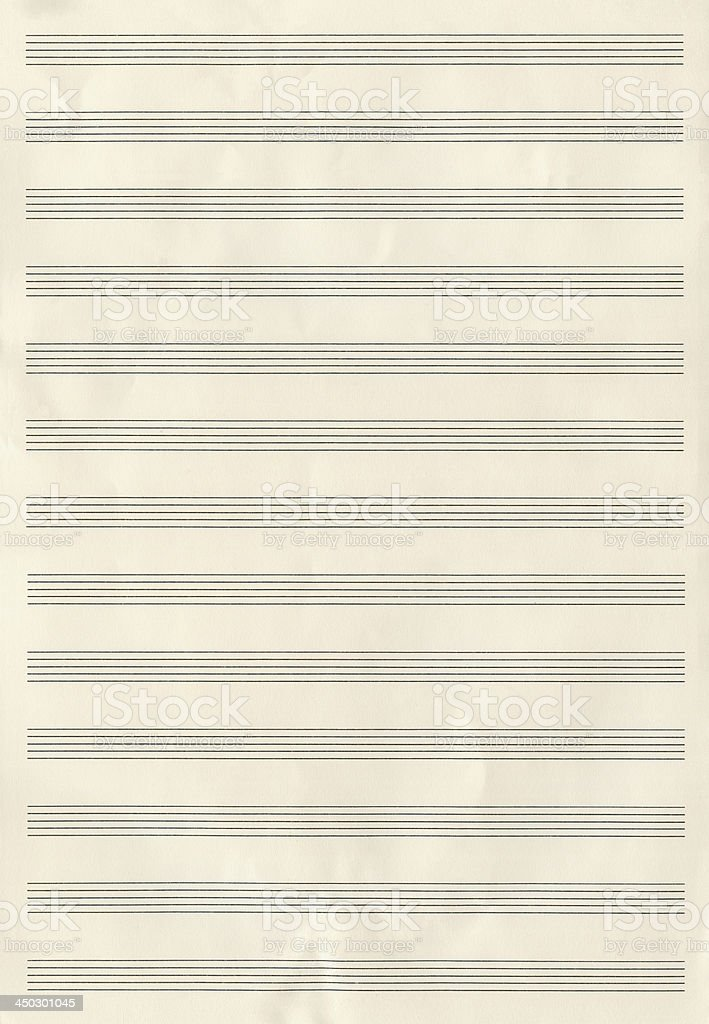 Blank Musical Notes Paper royalty-free stock photo
