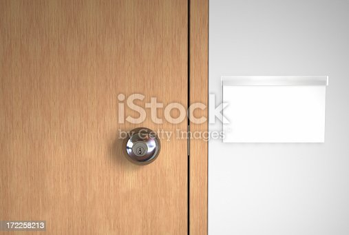 istock A blank name logo and a stainless door handle on wooden door 172258213