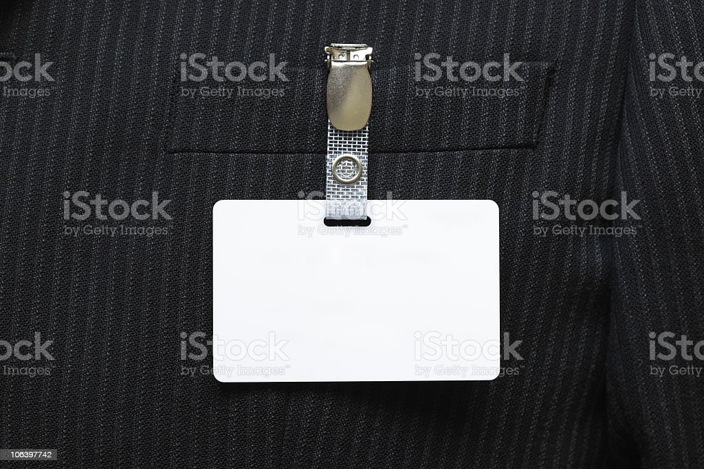 Blank name tag on suit stock photo