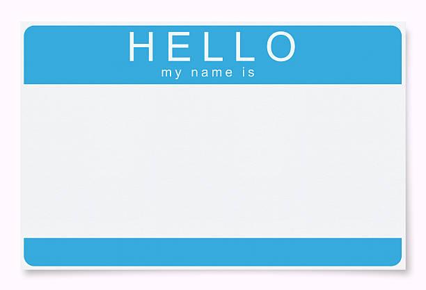 leere namensschild (clipping path) - hello stock-fotos und bilder