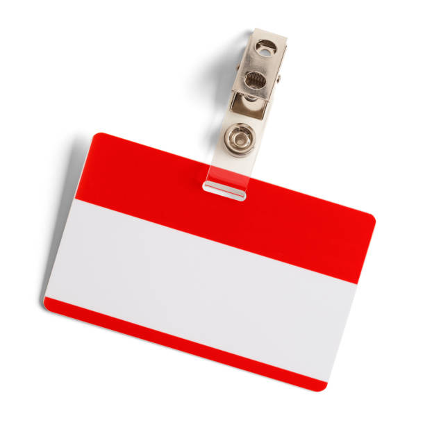 Blank Name Tag Red and White Plastic Name Badge with Metal Clip Isolated on White Background. security pass stock pictures, royalty-free photos & images