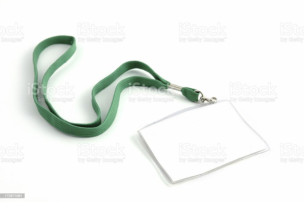 Blank name tag with a green lanyard isolated on white  stock photo