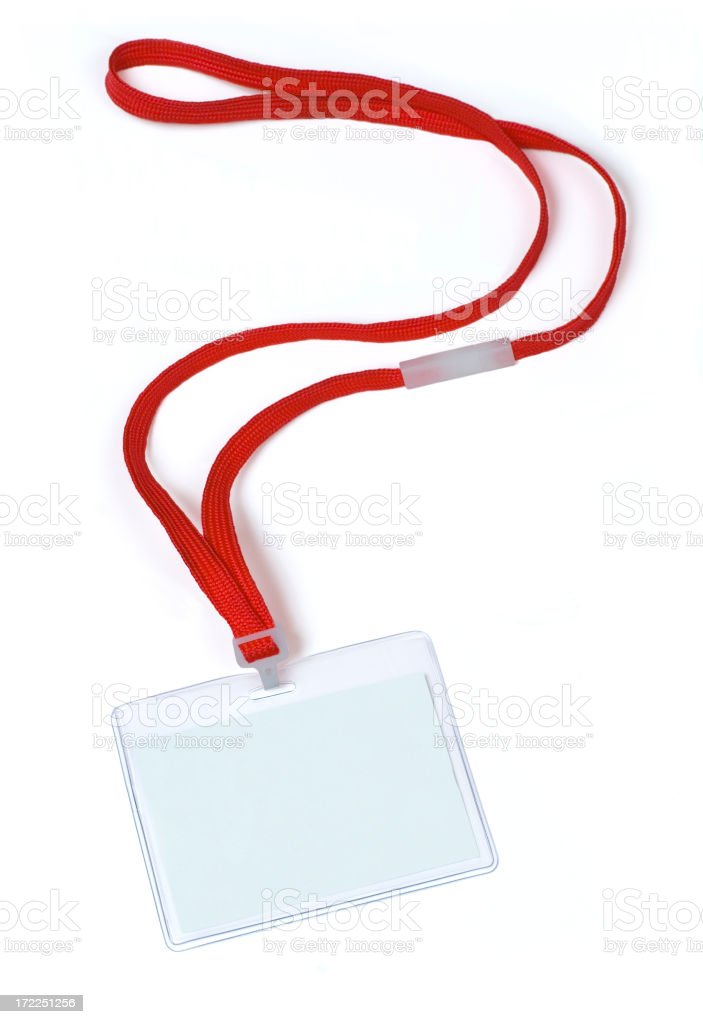 Blank Name Tag With Lanyard on White stock photo