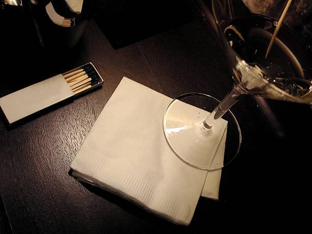 Blank napkin and martini. stock photo