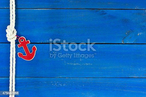 istock Blank nautical sign with anchor and rope 479467288