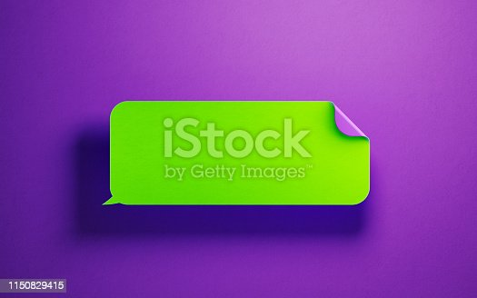 istock Blank Neon Colored Chat Bubble  over Purple Background 1150829415