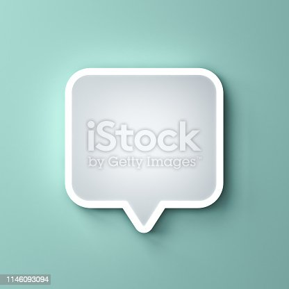 1125351850istockphoto Blank neon light white speech bubble pin or Chat pop up notification icon isolated on green pastel color wall background with shadow 3D rendering 1146093094