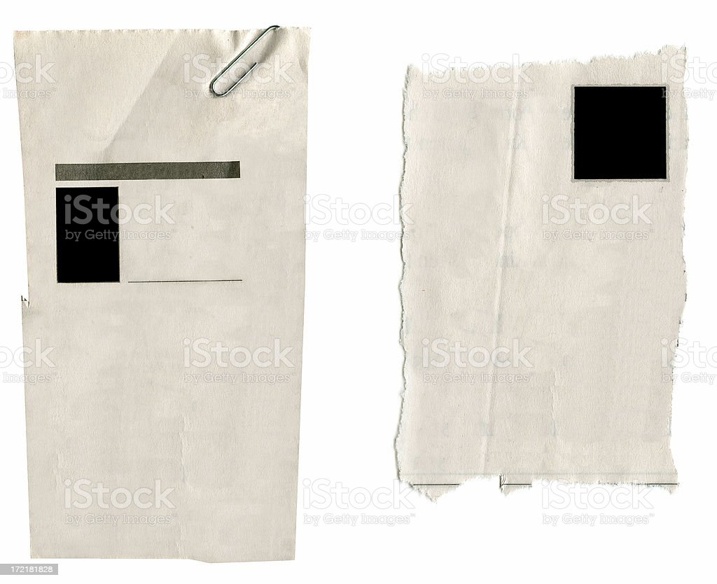 Blank Newspaper Clippings royalty-free stock photo