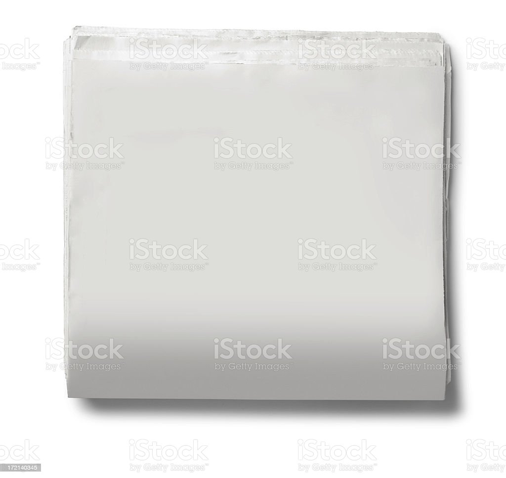 Blank Newspaper On White Background royalty-free stock photo