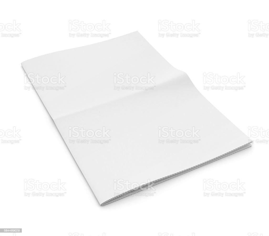 Blank newspaper on white background. stock photo