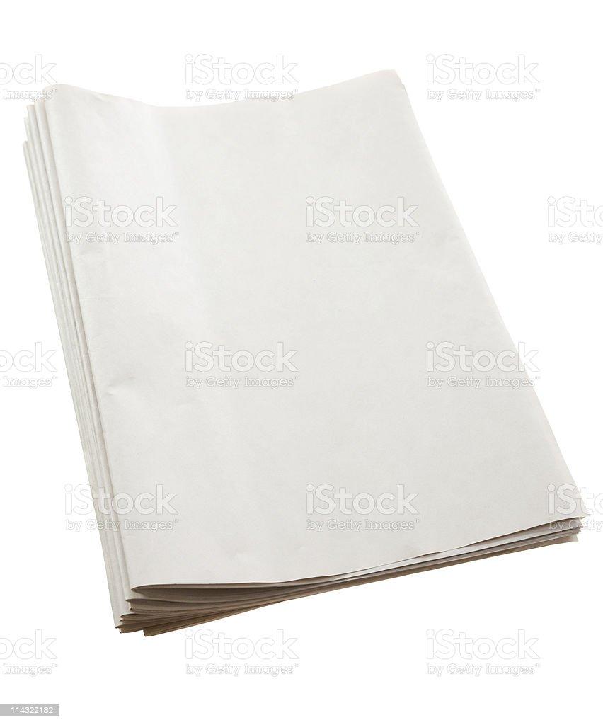 Blank newspaper pile royalty-free stock photo