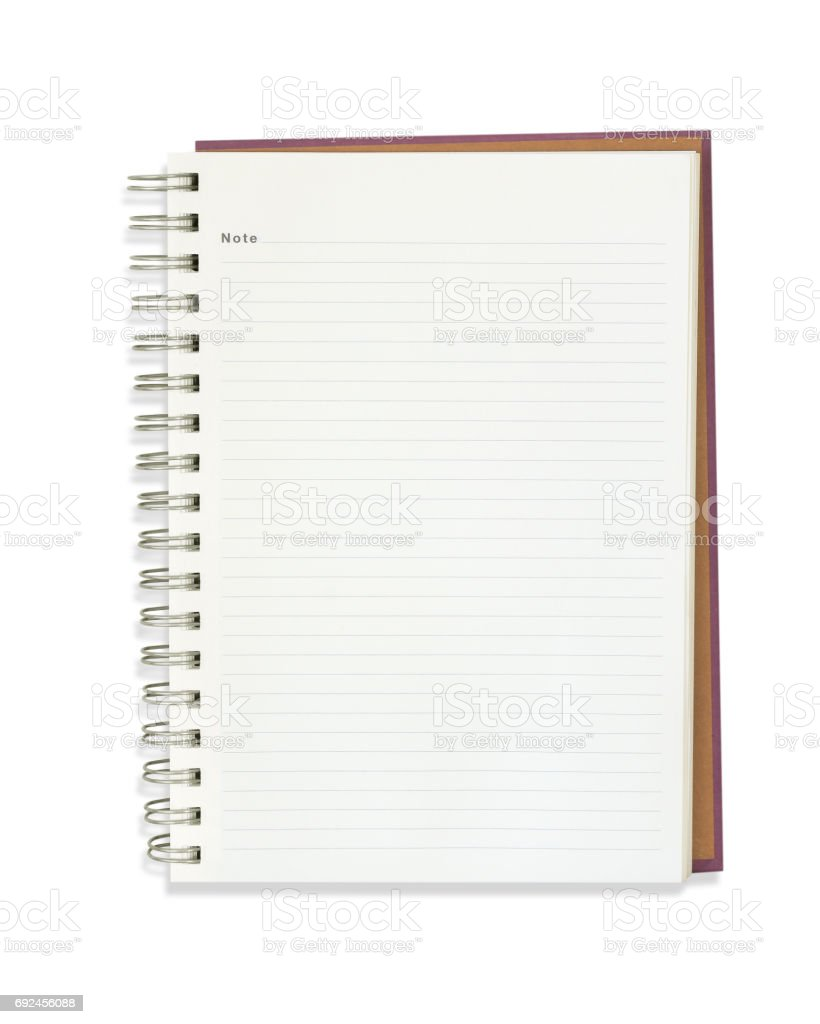 Blank note book isolated on white stock photo