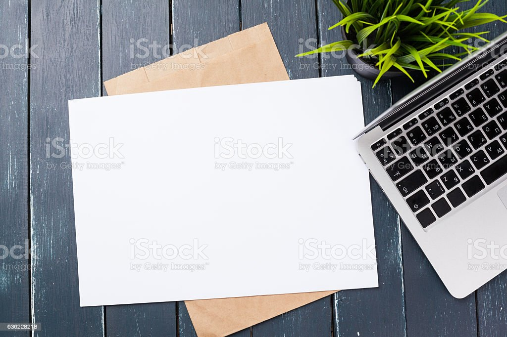 Blank note book on table, top view stock photo