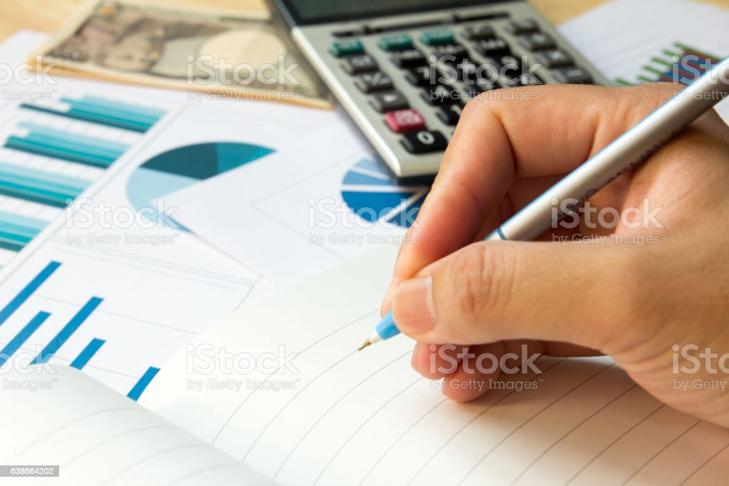 Blank Note Book With Financial Graph Calculator Japanese Yen