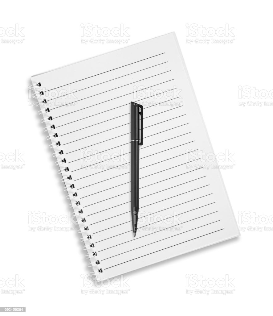 Blank note book with pen isolated on white. stock photo