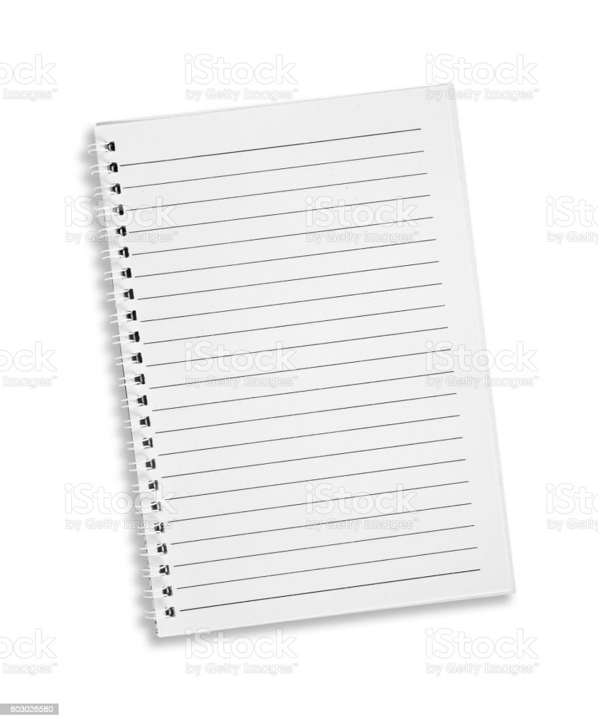Blank note book with three ring binder holes isolated on white. stock photo