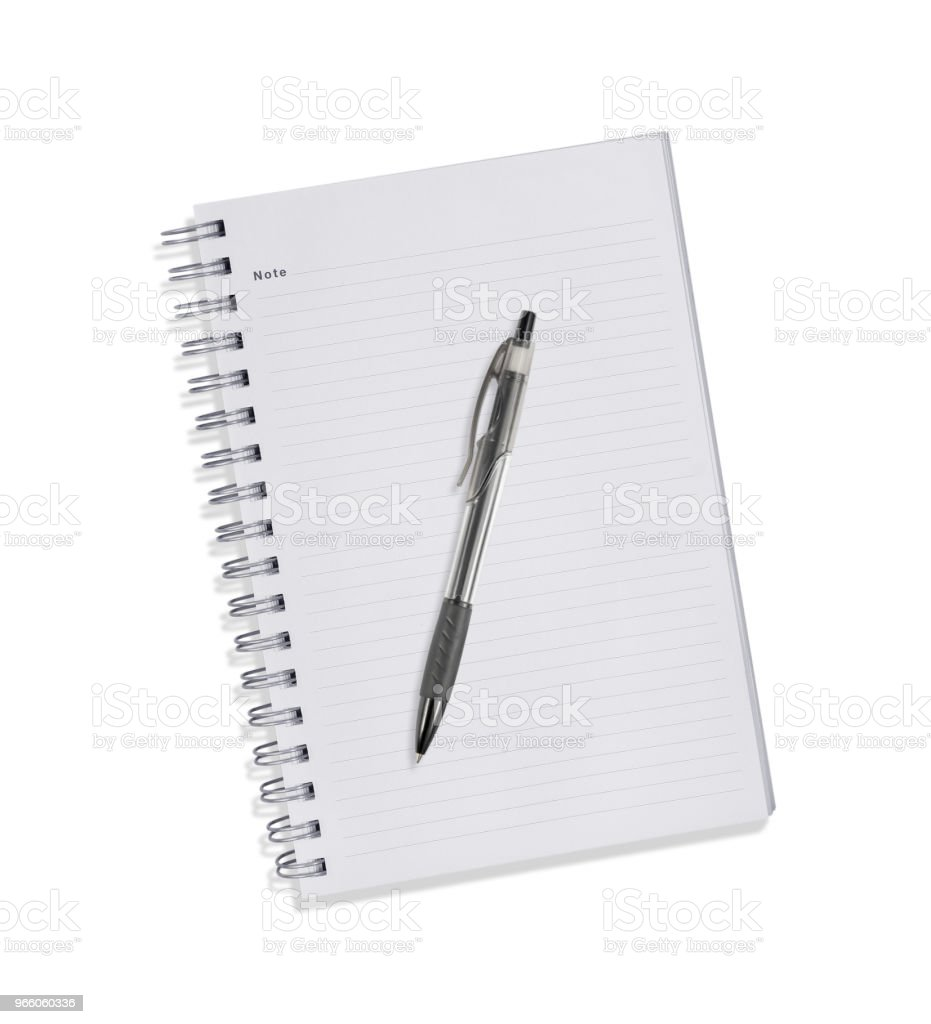 Blank note book with three ring binder holes isolated on white. - Royalty-free Blank Stock Photo