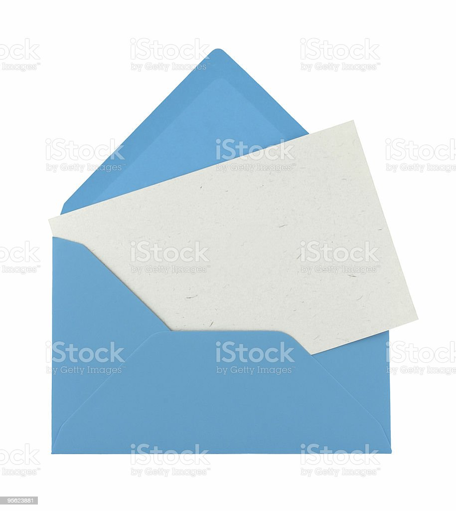 blank note in a blue envelope royalty-free stock photo