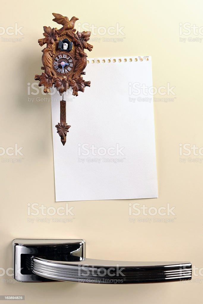 Blank note on fifties fridge door royalty-free stock photo