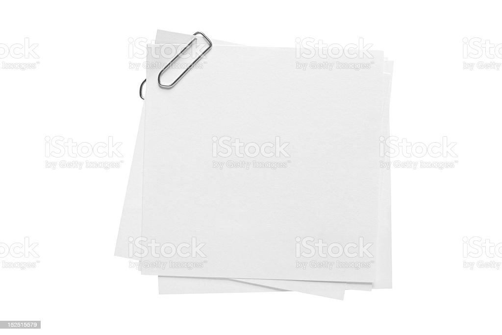 Blank note paper and paper-clip royalty-free stock photo
