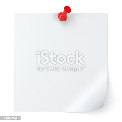 istock Blank Note Paper and Thumbtack Isolated on White Background - 3d Illustration 1089050542