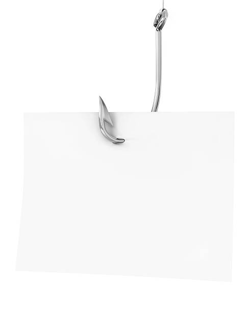 Blank note paper on a fishing hook Blank note paper on a fishing hook, isolated on white background fishing hook stock pictures, royalty-free photos & images