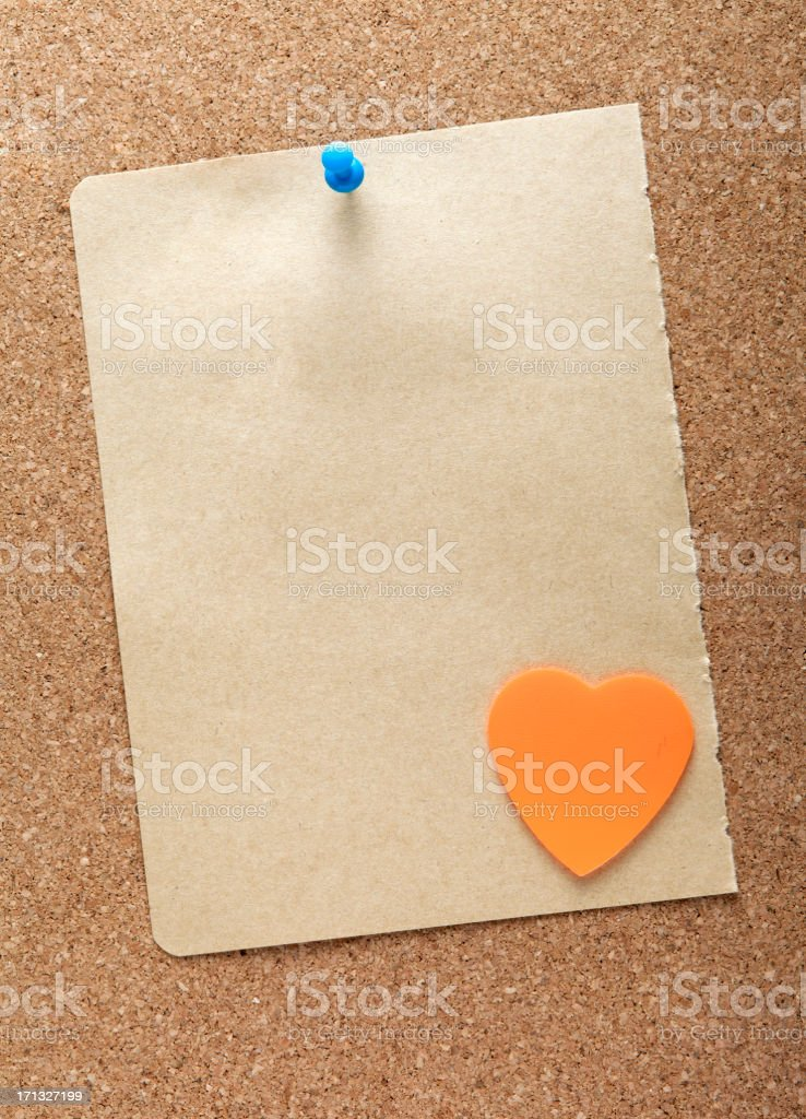 blank note paper on cork board royalty-free stock photo