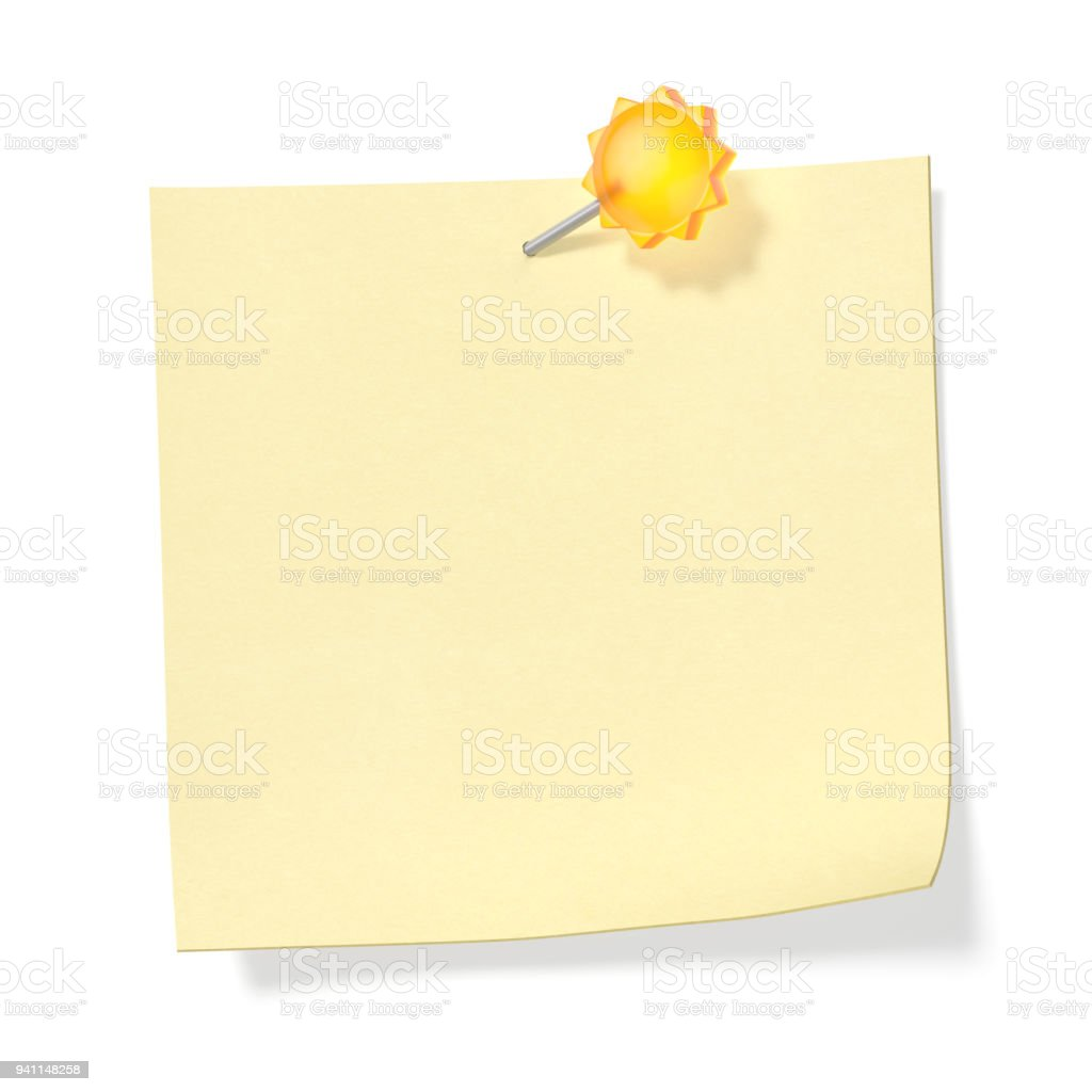 Blank note paper or sticker with empty space with attached pin in the form of vibrant yellow sun on white wall stock photo