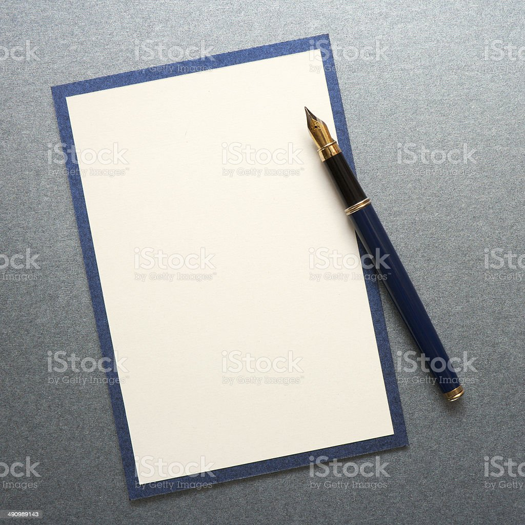 Blank note paper wiih pen stock photo