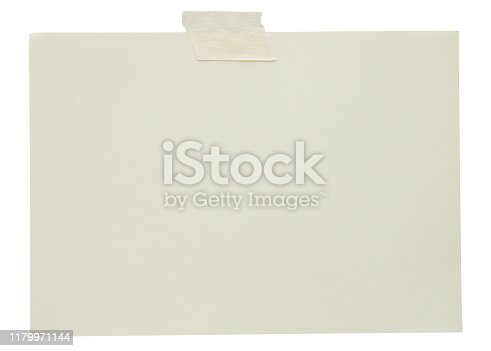 istock blank note paper with adhesive tape isolated on white background 1179971144